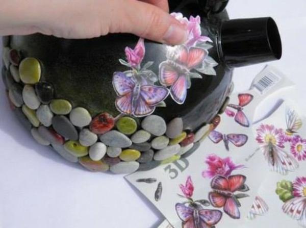 draußen basteln pflanzkübel klein dekor Blumentöpfe