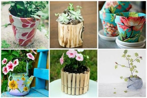 Blumentöpfe für draußen basteln pflanzkübel klein ideen