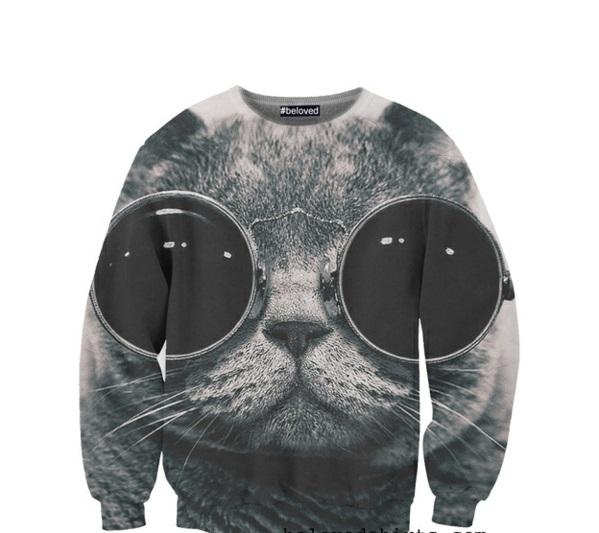 schwarz weiß T-Shirts designen katze sunglasses Coole