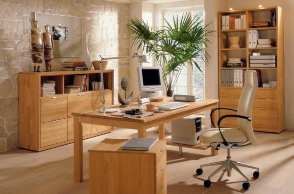Ergonomie am Arbeitsplatz moderne holzmöbel homeoffice