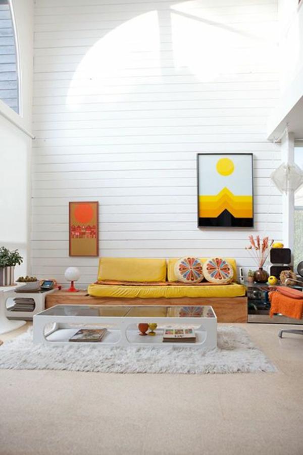 wohnzimmer trends 2015:Farbgestaltung Farbideen Wohntrends Wohnzimmer gelb farbkombination
