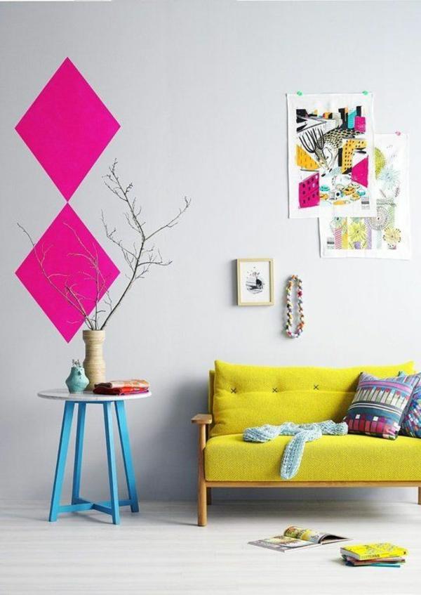 Farbgestaltung im Wohnzimmer Farbideen Wohntrends 2015 gelb sofa