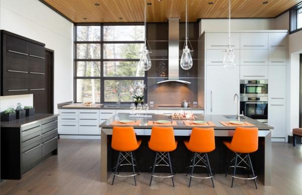 Wohnzimmer Farbideen Wohntrends Farbgestaltung orange stühle