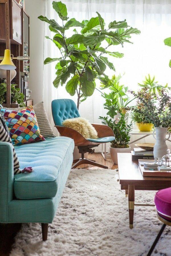 Farbgestaltung-im-Wohnzimmer-Farbideen-Wohntrends-2015-pflanzen