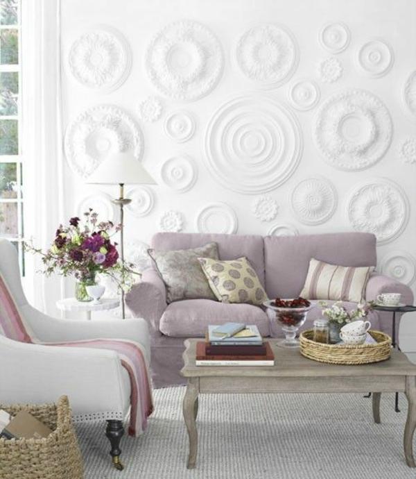 wohnzimmer trends 2015:Farbgestaltung 2015 reliefiert wanddeko Wohnzimmer Farbideen