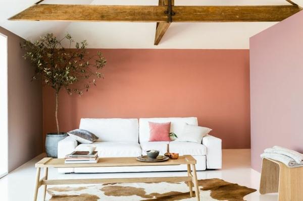 Farbgestaltung Wohntrends 2015 rosa wände Wohnzimmer Farbideen