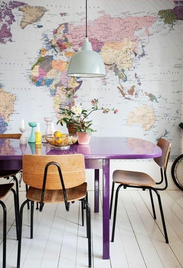 Farbgestaltung im Wohnzimmer Farbideen Wohntrends 2015  wanddeko weltkarte