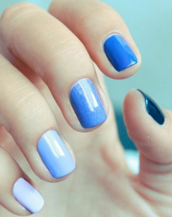 Fingernägel Design bilder blautöne