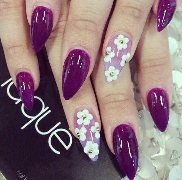 Fingernägel blumen blüten Design bilder kühn purpurrot