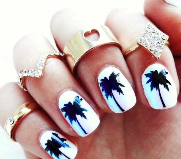 Fingernägel sommer schwarz weiß Design bilder palmen