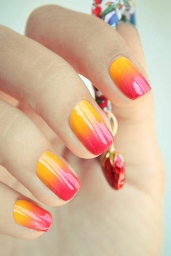 Fingernägel Design bilder sommer orange rot