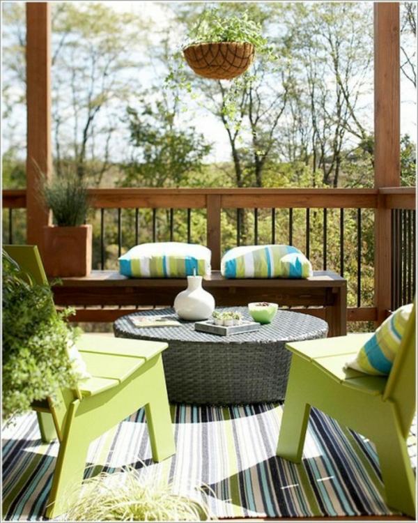 streifen Frühlingsdeko kleiner balkon basteln teppich