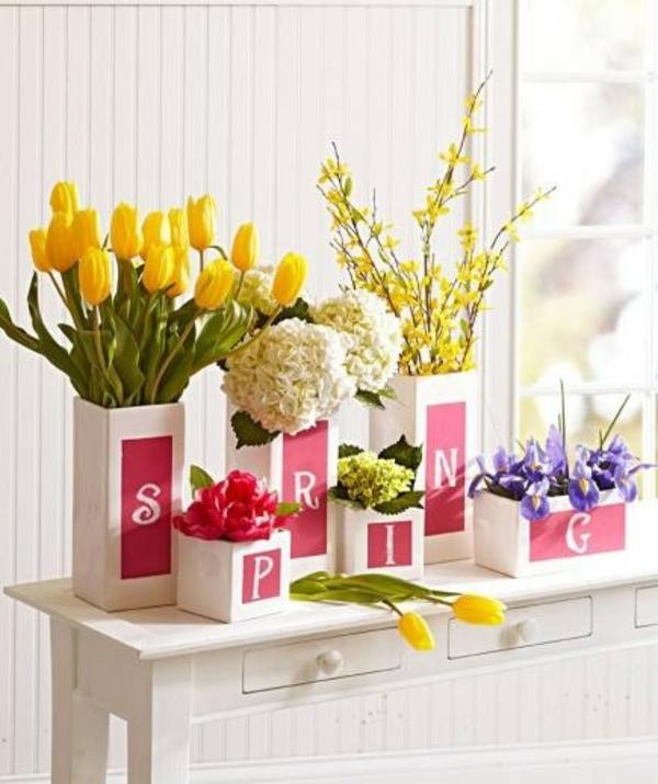 Frühlingsdeko basteln schöne Gartenideen zum Selbermachen gelb