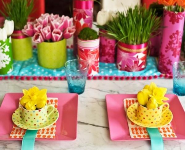 Frühlingsdeko basteln schöne Gartenideen zum Selbermachen teller