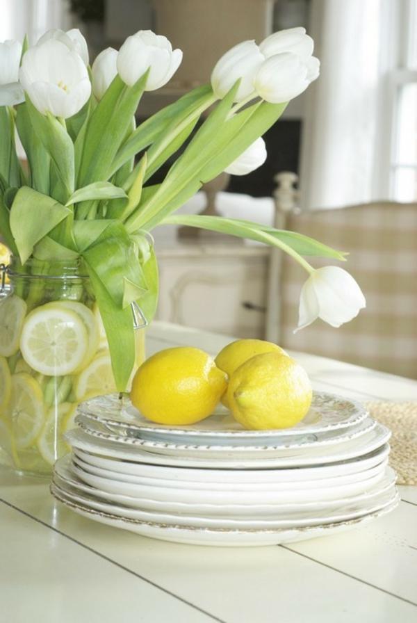 Frühlingsdeko basteln schöne Gartenideen zum Selbermachen zitronen