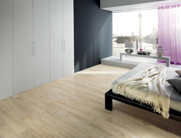 schlafzimmer fliesen design kleiderschrank bett