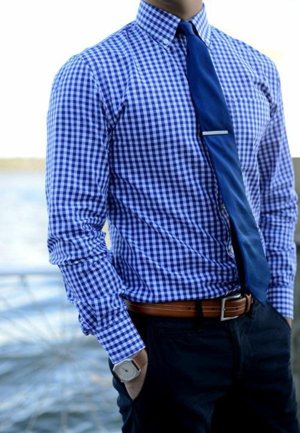 Männerhemd Herrenhemde blau karromuster krawatte elegante herrenmode