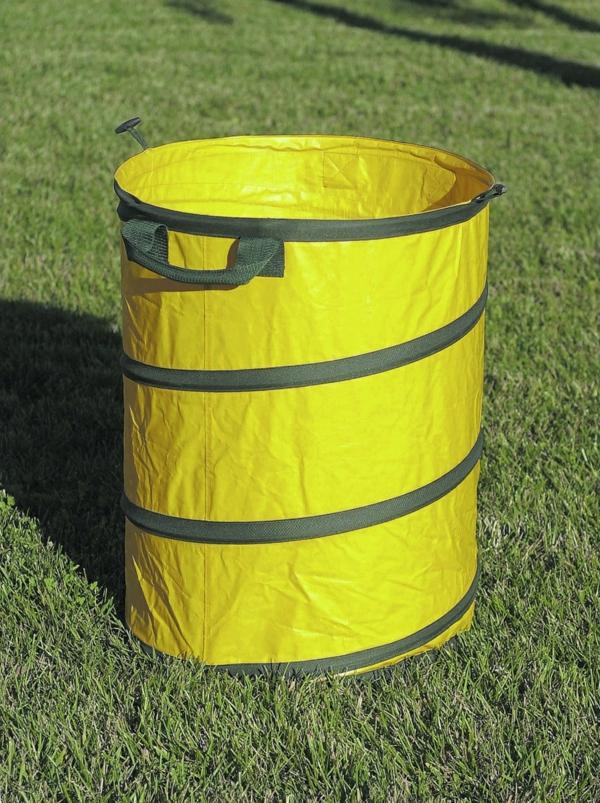 Mülltonnen im garten dekorieren gelb färben