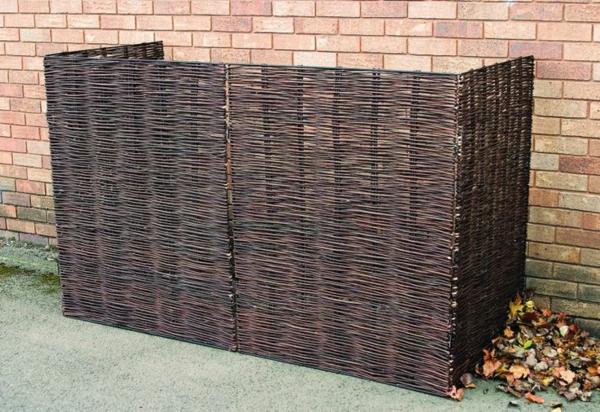 Mülltonnen im garten verstecken sichtschutz rattan