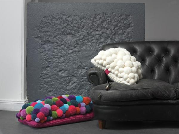 MYK pomponisle designer teppiche und kissen bommel