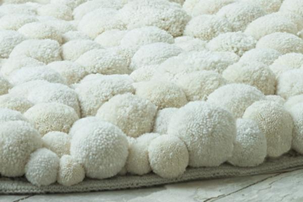 MYK pomponisle runde designer teppiche bommel weiß kuschelweich