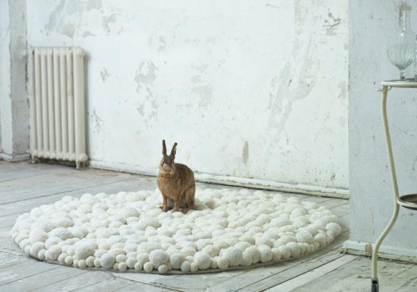 MYK pomponisle runde designer teppiche bommel weiß