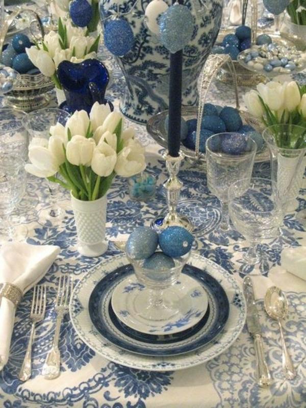 Osterbasteln Ideen kinder osternest osterhase blau