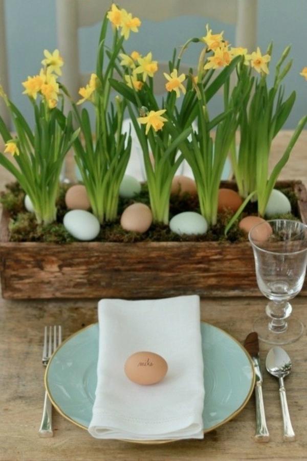 Ostern basteln Ideen kinder osternest osterhase narzissen