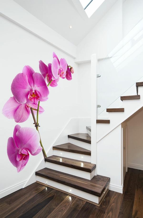 Wandtattoo als Wanddekoration orchideen treppe
