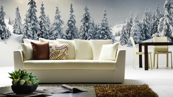 Wandaufkleber als Wanddekoration winter wohnzimmer