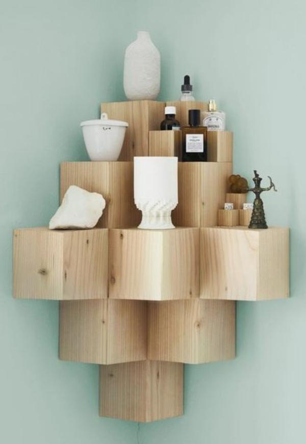 Wanddeko aus Holz eckregal holz wandregal wohnzimmer