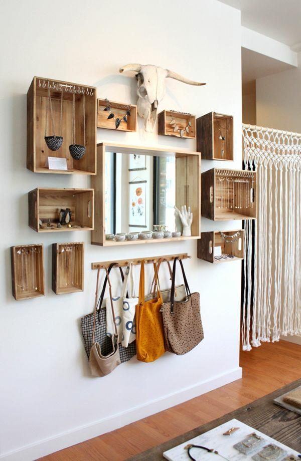 Wanddeko aus Holz flur möbel holzkisten diy projekt