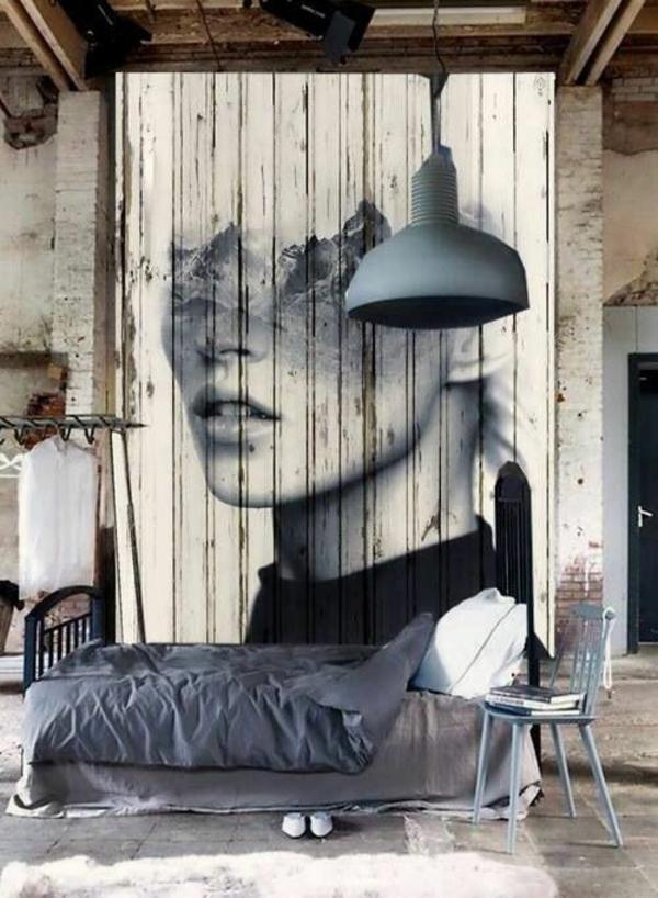 Wanddeko aus Holz holzpaletten streichen kunstvolle lösung