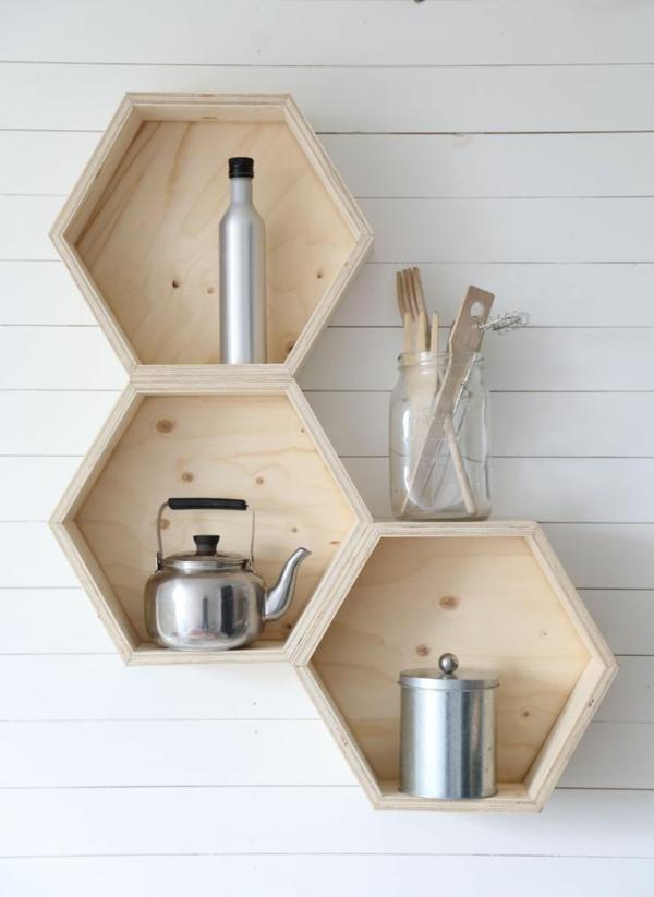 Wanddeko aus Holz originelles wandregal küchenregal