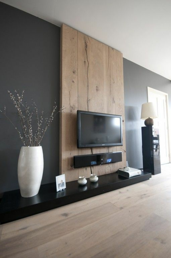 Wanddeko aus Holz tv wohnwand flachfernseher