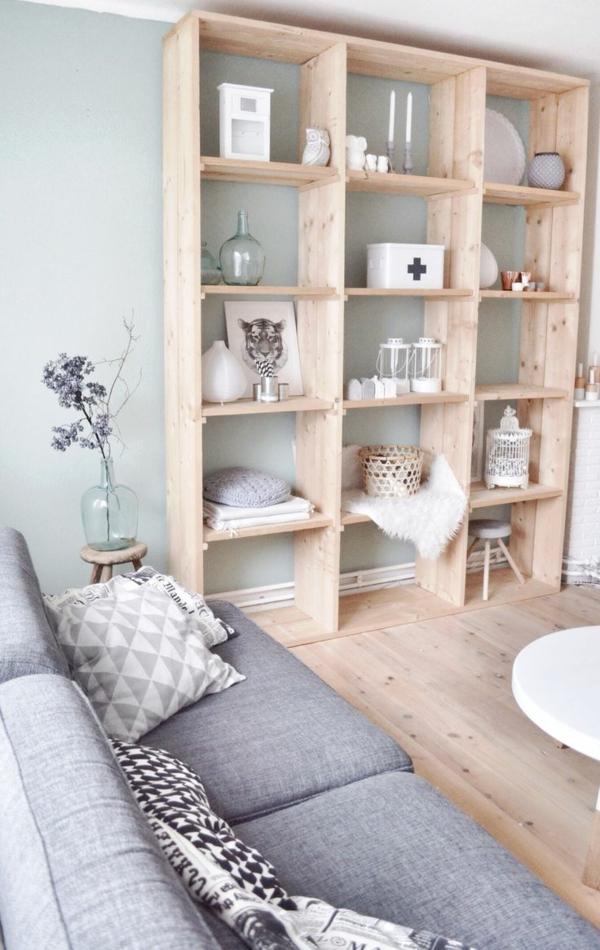 Wanddeko aus Holz wohnzimmer holzregal