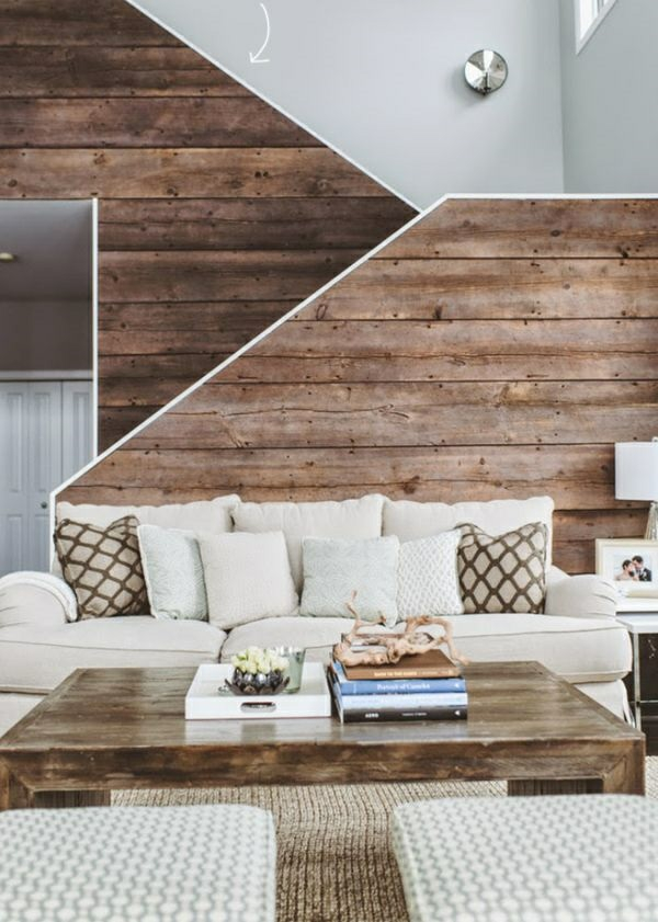 Wanddeko aus Holz wohnzimmer möbel treppenhaus geländer aus holz