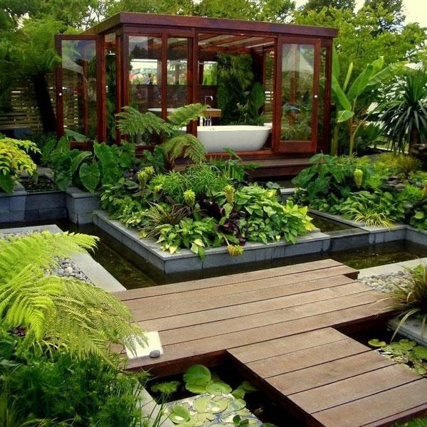 Zen Garten Anlegen japanische gärten holzboden
