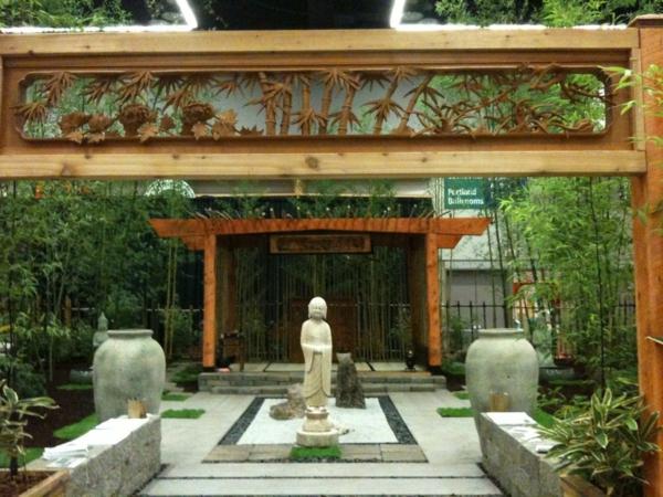 Zen Garten Anlegen japanische pflanzen beton platten