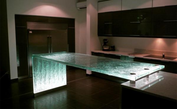 arbeitsplatte küche kücheninsel beleuchtet küche einrichten