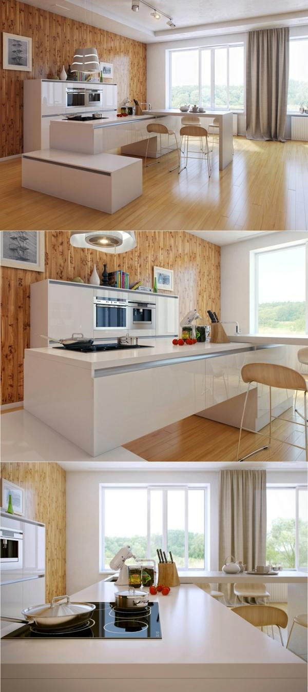 arbeitsplatte küche moderne küche gestalten holzwand