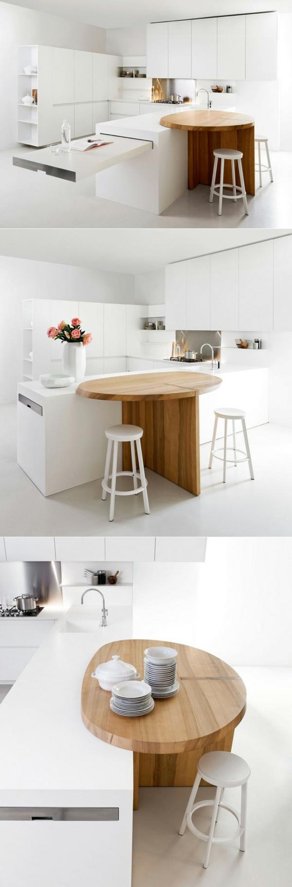 arbeitsplatte küche weiß ovaler tisch holztextur