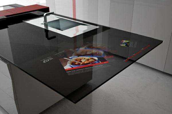 arbeitsplatten für küchen elegantes design glas mattiert