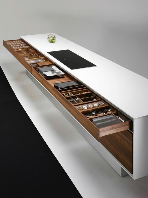 arbeitsplatten für küchen funktionales design schubladen geschirr