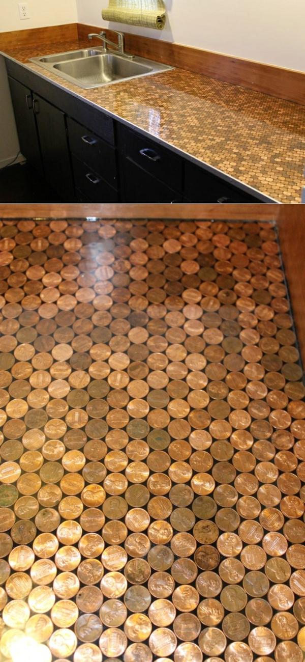arbeitsplatten für küchen münzen deoration