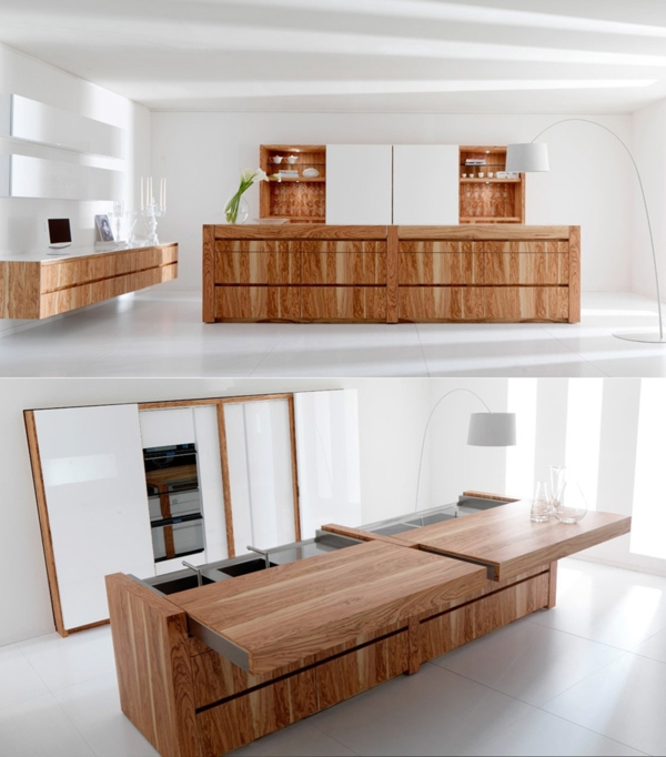 arbeitsplatten für küchen schöne holztexzur kücheninsel stehlampe