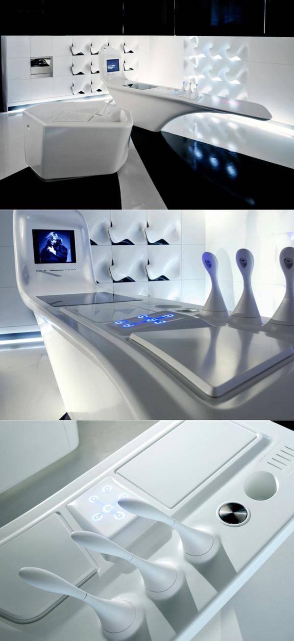 arbeitsplatten für küchen weiß elegant modern