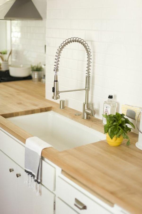 armatur spülbeckenarmaturen küchenideen küche gestalten küchenarbeitsfläche holz