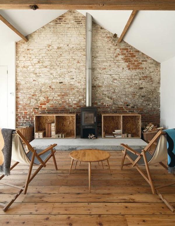 backstein tapete landhausstil rustikales wohnzimmer ziegelstein tapete