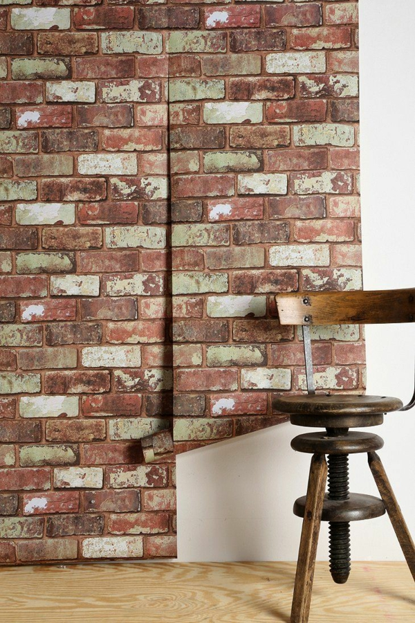 backstein tapete landhausstil wanddeko ideen ziegelstein tapete